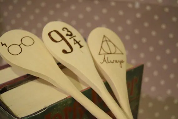 Harry Potter Wooden Spoons -30+ Harry Potter Gift Ideas for the Harry Potter Lover in your life. This gift guide includes clothing, home decor, food and anything else Harry Potter! thekeeledeal.com