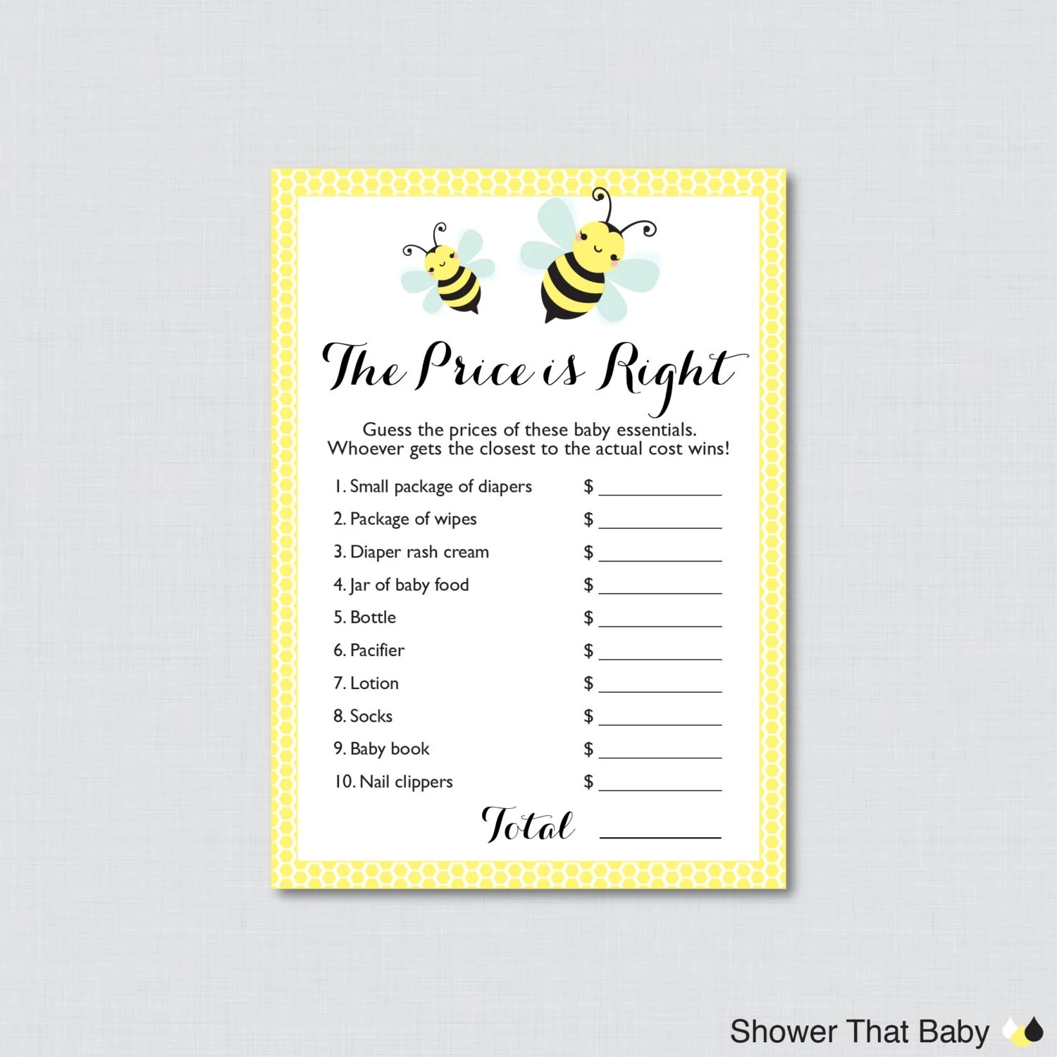 Bumble Bee Baby Shower Price Is Right Game Printable Bumble