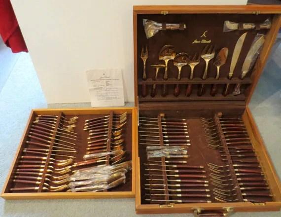 Jean Claude Flatware Vintage 91 Piece Set Bronze Amp Rosewood
