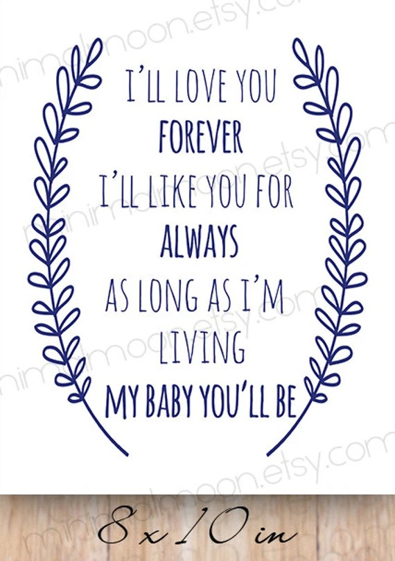 Download I'll love you forever Navy Nursery quote INSTANT by ...