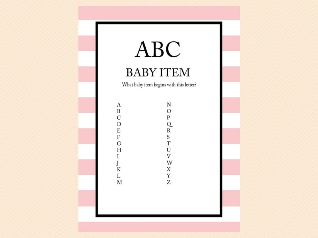Abc Baby Item Game A To Z Game Printable Baby Shower Games