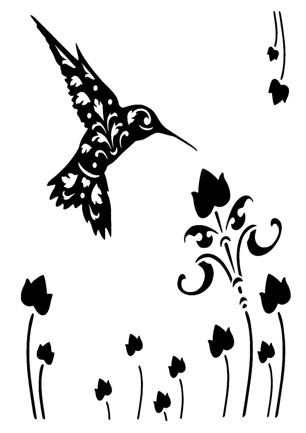 5 8 8 3 Vintage Hummingbird Stencil And Template A5