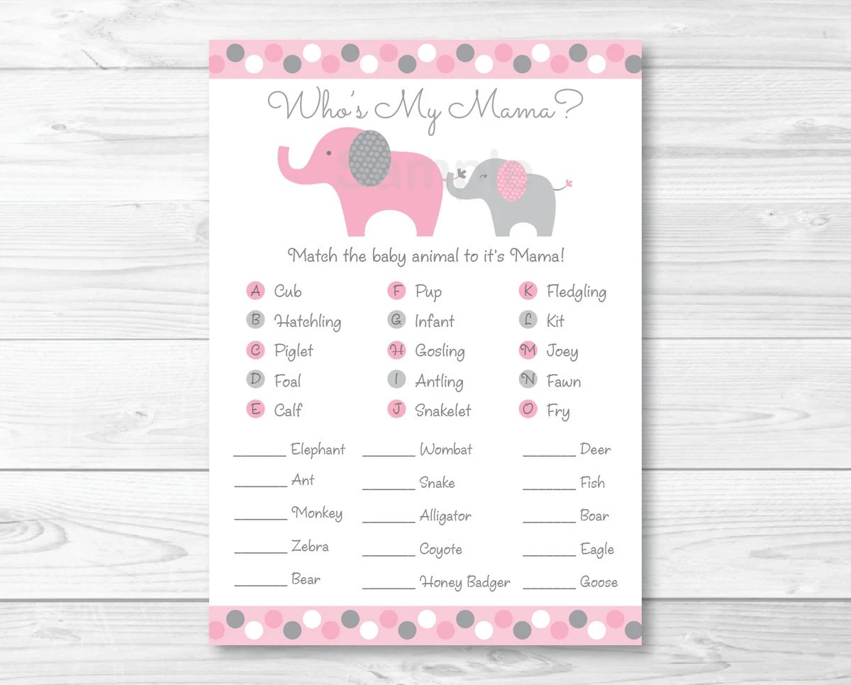 Pink Amp Grey Elephant Animal Match Baby Shower Game Who S
