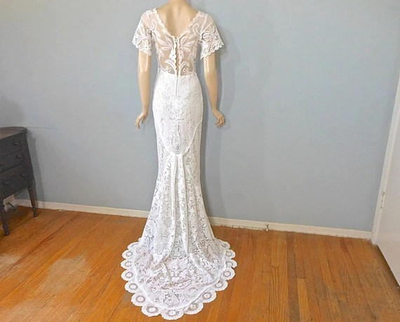 Vintage Lace WEDDING Dress Crochet Lace Wedding Dress Hippie