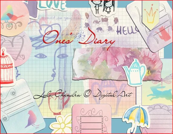 One's Diary INSTANT DOWNLOAD Mini book Doodle journal free form sketch printable watercolor sheets