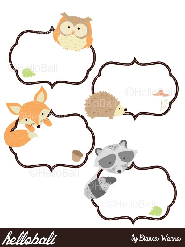 Baby Forest Animals Clip Art Cards