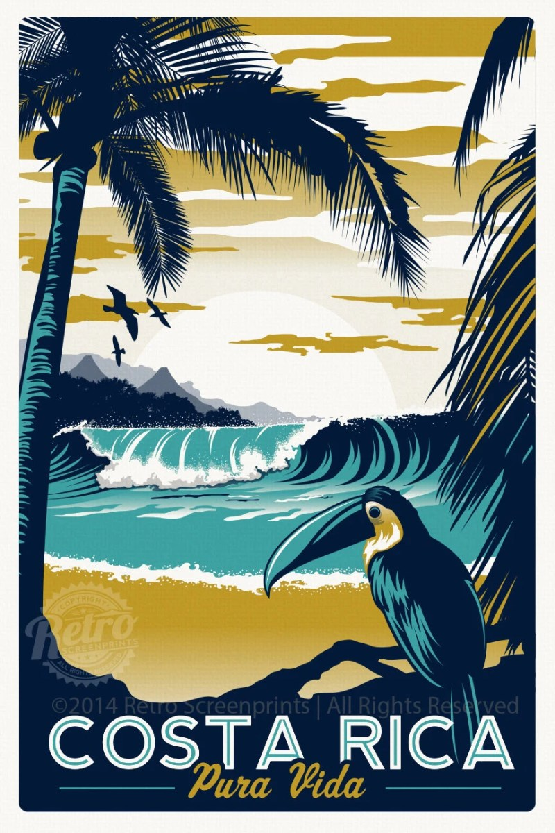 Costa Rica Retro Vintage Travel Poster Screen Print