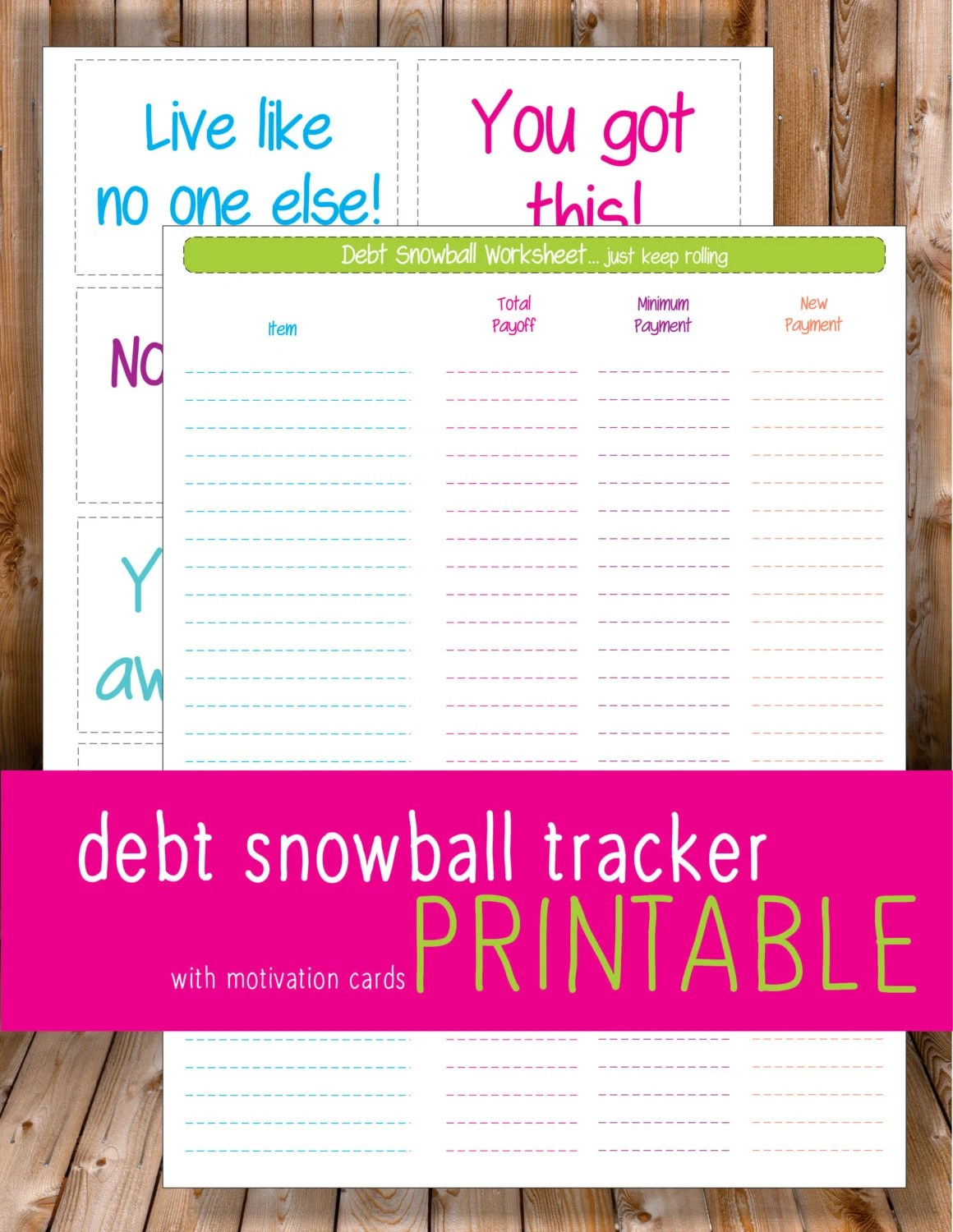 Debt Snowball Worksheet With Motivation By Mariereneecreations