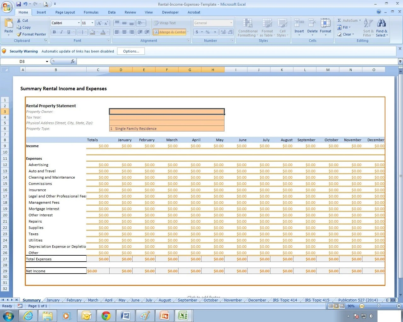 Rental Income And Expenses Excel Spreadsheet Template