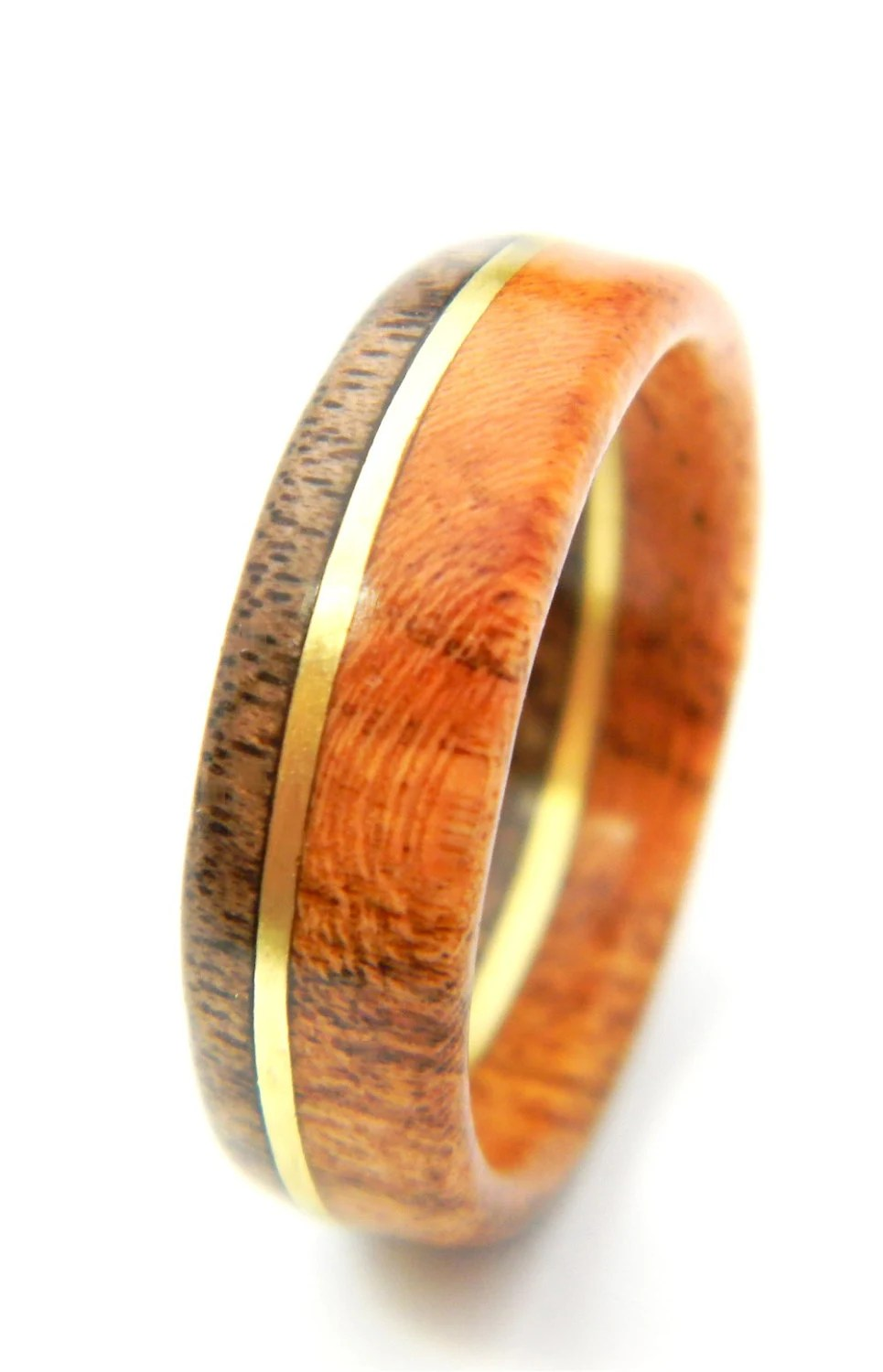 Unique Walnut And Cherry Wood Engagement Ring Jewelry Ring