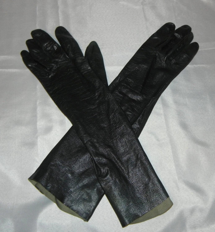Vintage Black Leather Gloves Opera Formal