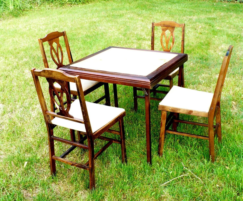 folding card table set w 4 chairs legomatic mid century 1950s haute juice. Black Bedroom Furniture Sets. Home Design Ideas