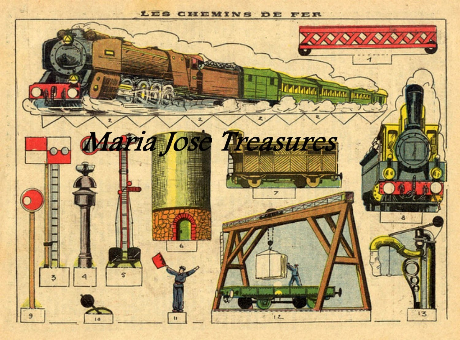 Vintage French Train Paper Doll Cut Outs Digital Download