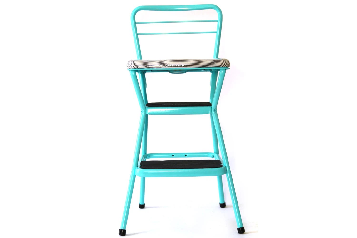 step stool kitchen chair combo turquoise painted flip up padded