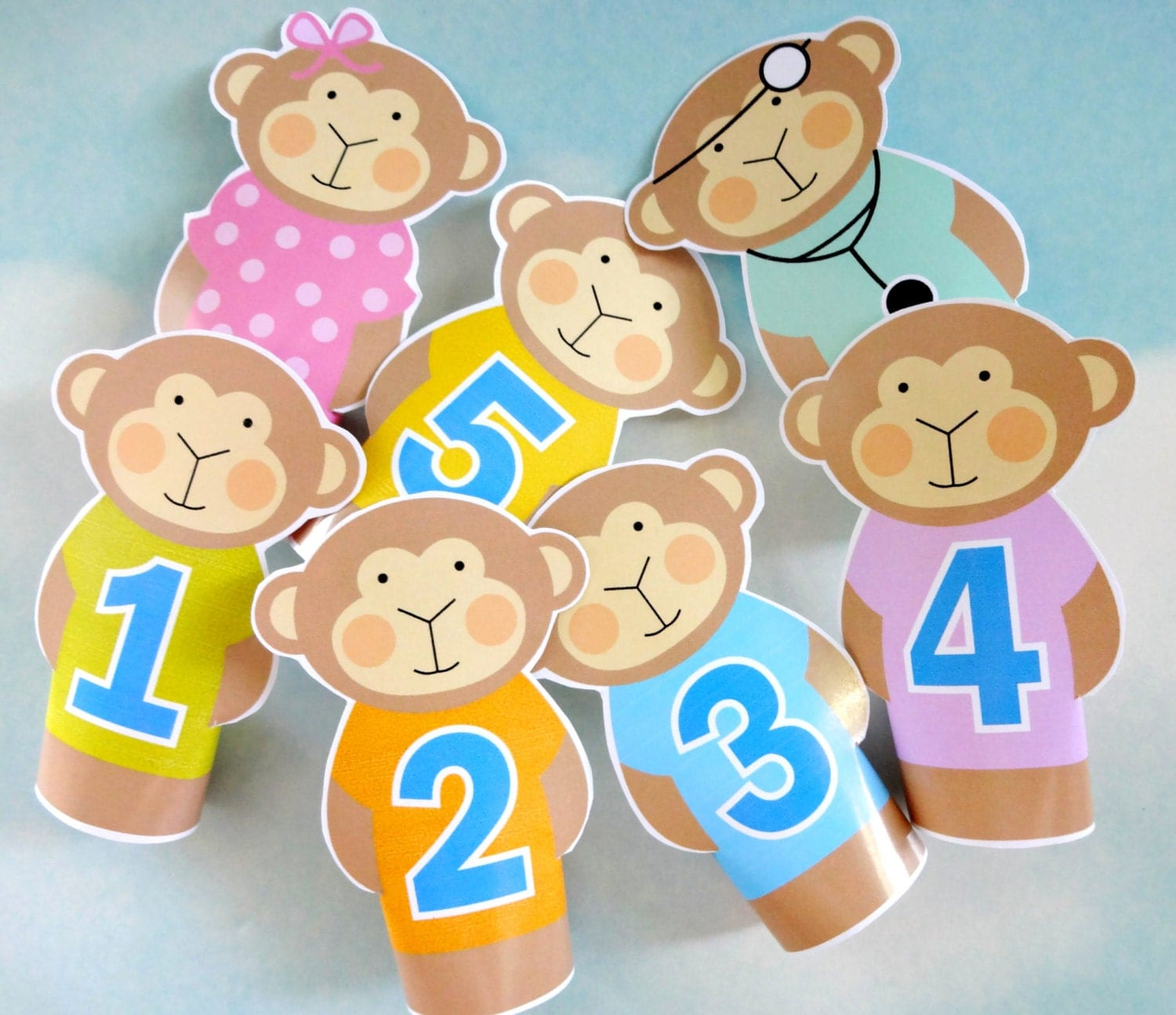 Diy Printable Finger Puppets Five Little Monkeys Jumping On