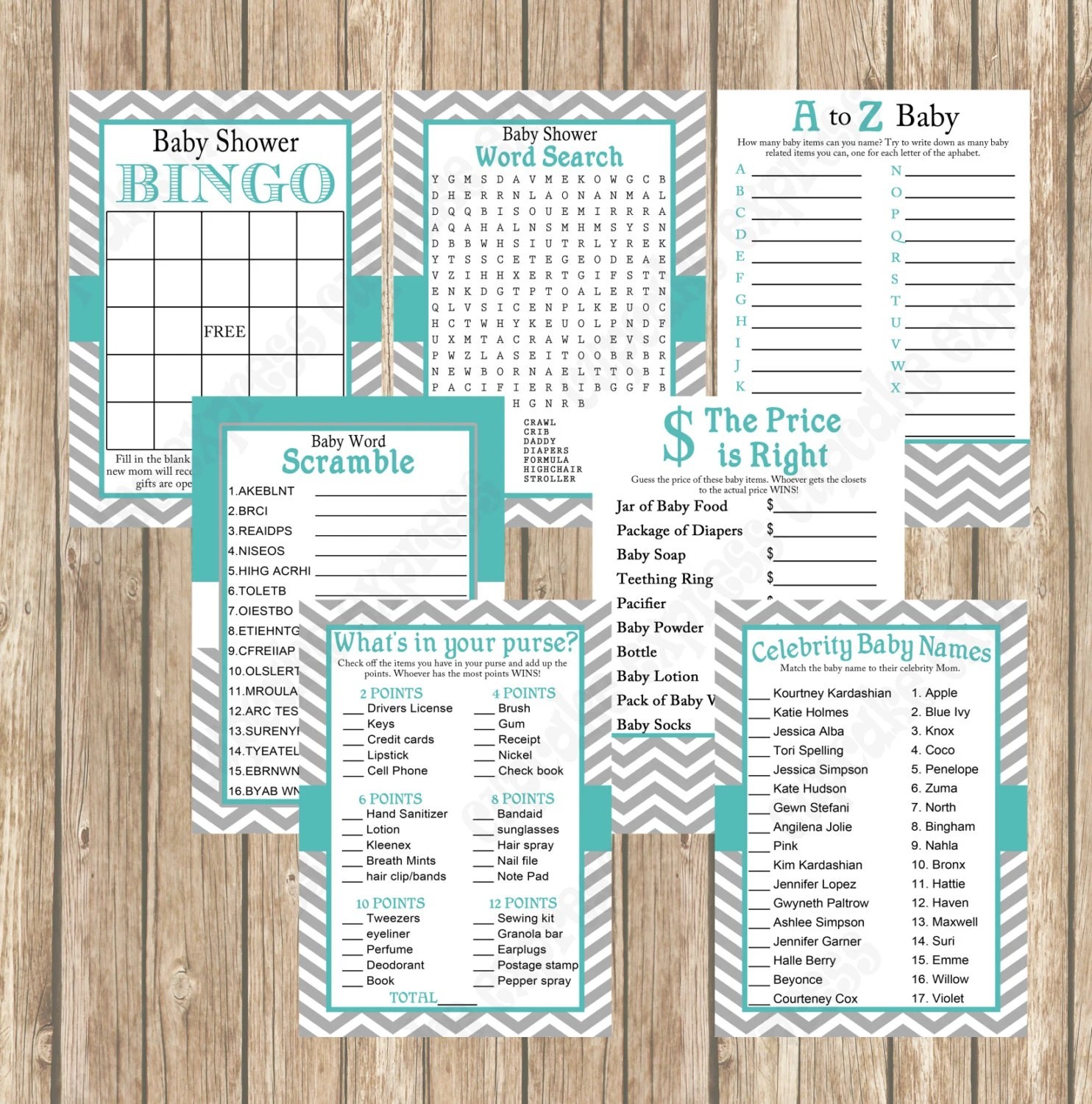 Baby Shower Games Pack Teal Grey Chevron Mommy To Be