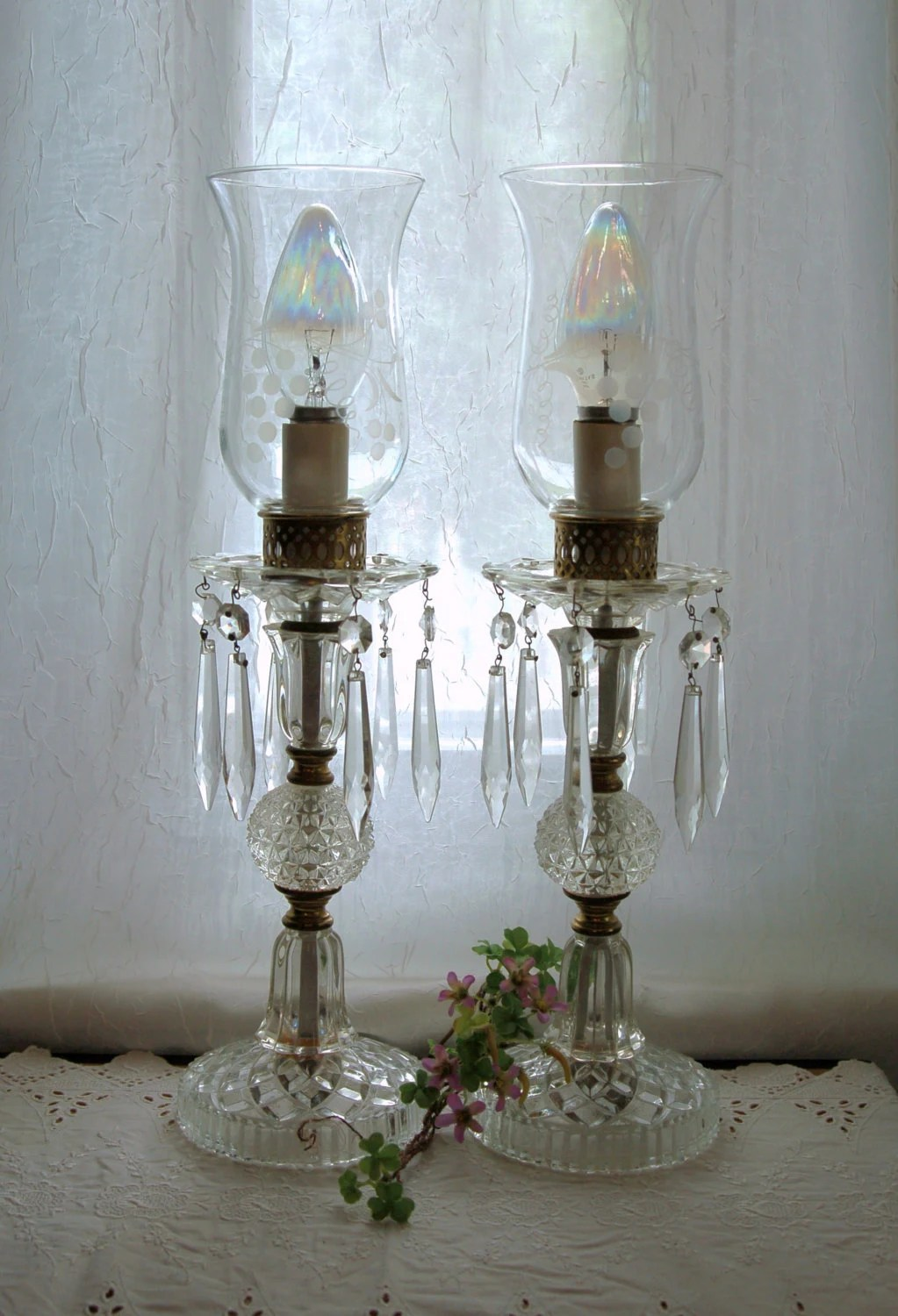 Vintage Crystal Lamps For The Boudoir Or Buffet Antique Lamps