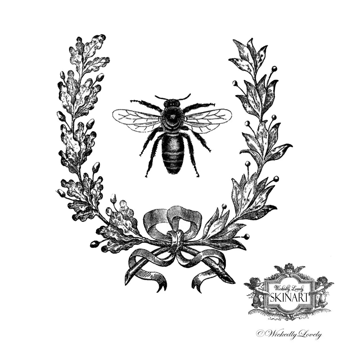 Vintage French Bee Temporary Tattoo Vintage Bee Bee And