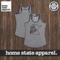 Women's Minnesota Tank - Home State Apparel WOMEN'S Vintage Grey and Charcoal Tri-Blend Tank Top - Minnesota, the Star of the North