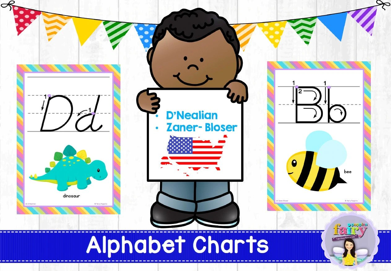 Alphabet Charts D Nealian And By Fairypoppinsteaching On Etsy