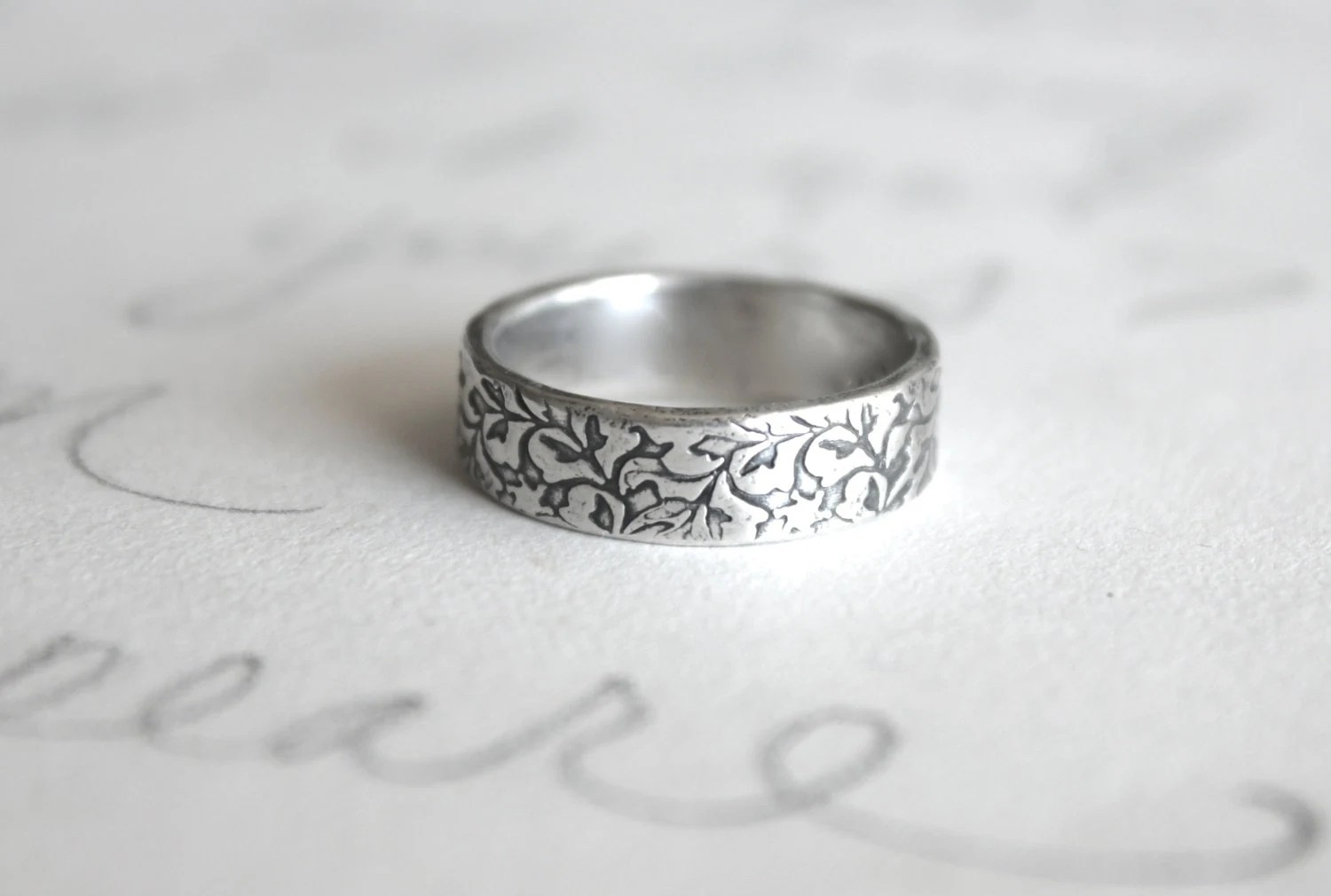 Unisex Wedding Band Ring Engraved Recycled Silver Ring