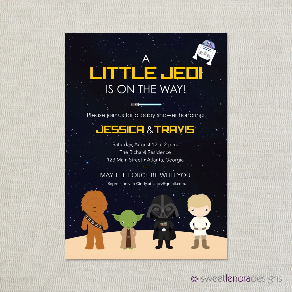 Star Wars Baby Shower Invitation Printable By