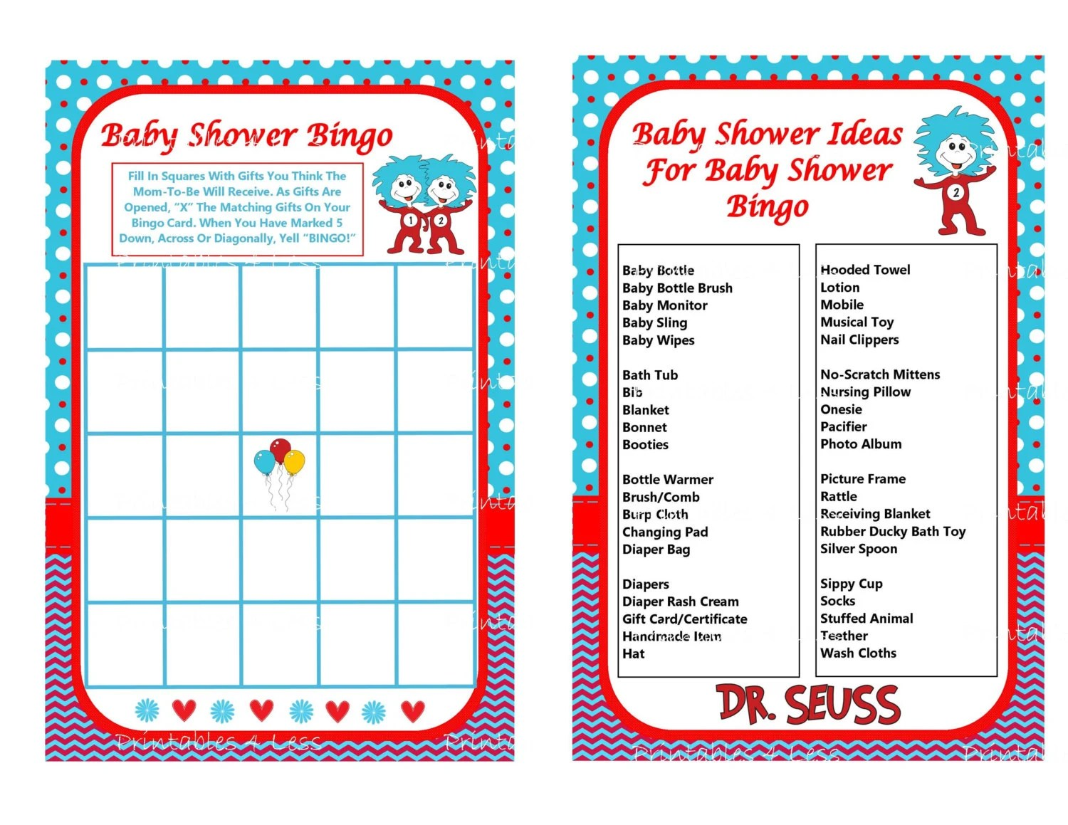Dr Seuss Bingo Dr Seuss Baby Game Printable Seuss Game Cat