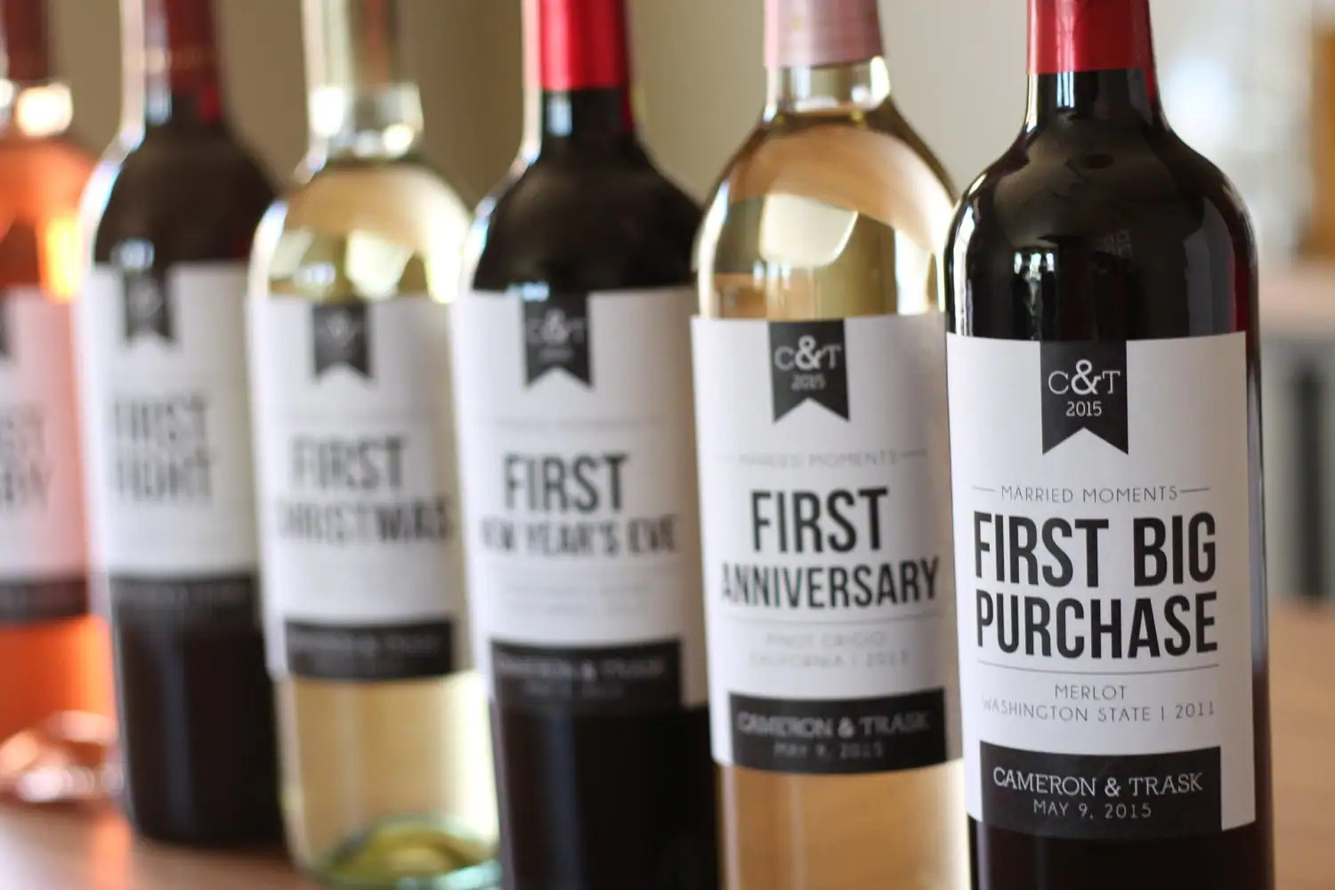 6 Custom Wine Labels For First Married Moments Customizable