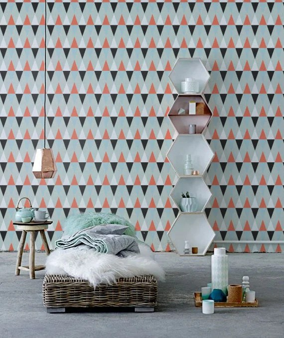 Papier peint vinyle auto-adhésif, décalque de mur - la couverture de modèle de Triangle - 101