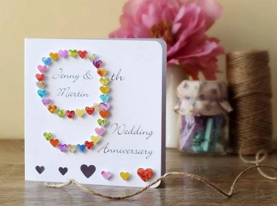 9th Wedding Anniversary Card Handmade Personalised Ninth