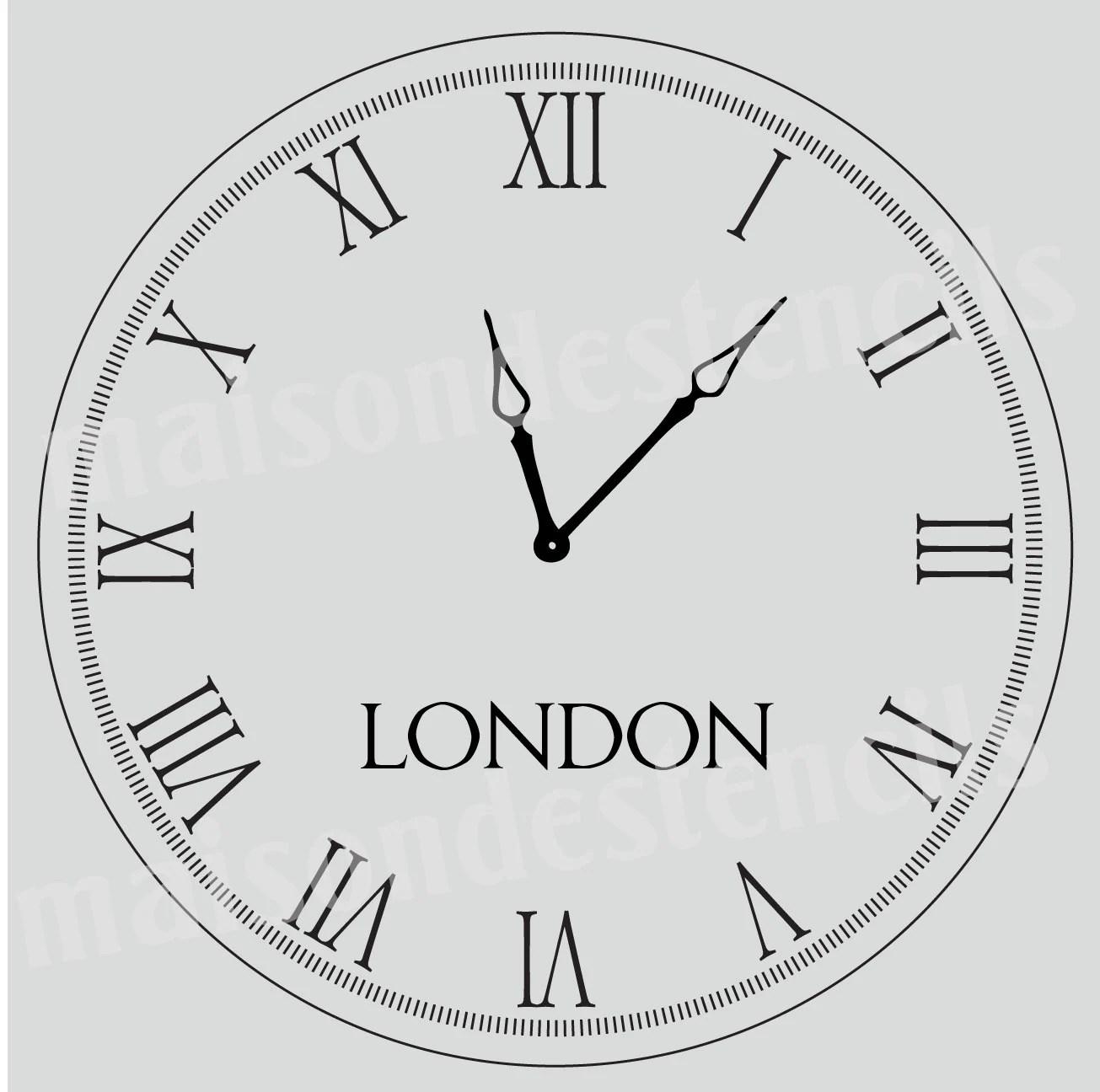 Euro Stencil Design Roman Numeral Clock 12x12 Stencil For