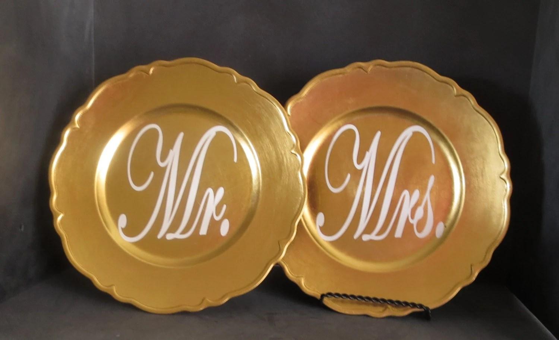 Mr And Mrs Plates Wedding Table Decor Mrs Mr Decor Gold