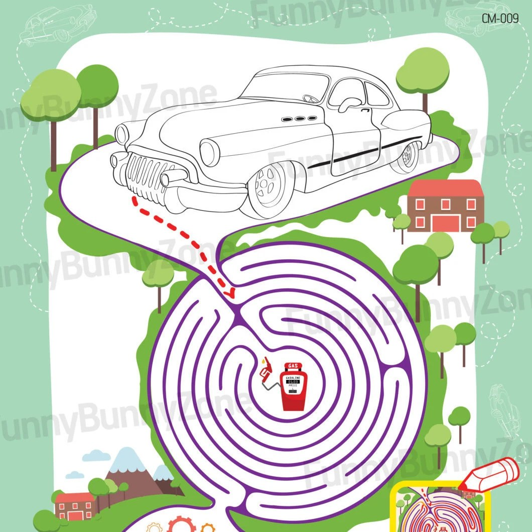 car coloring page with maze preschool activities kids coloring page