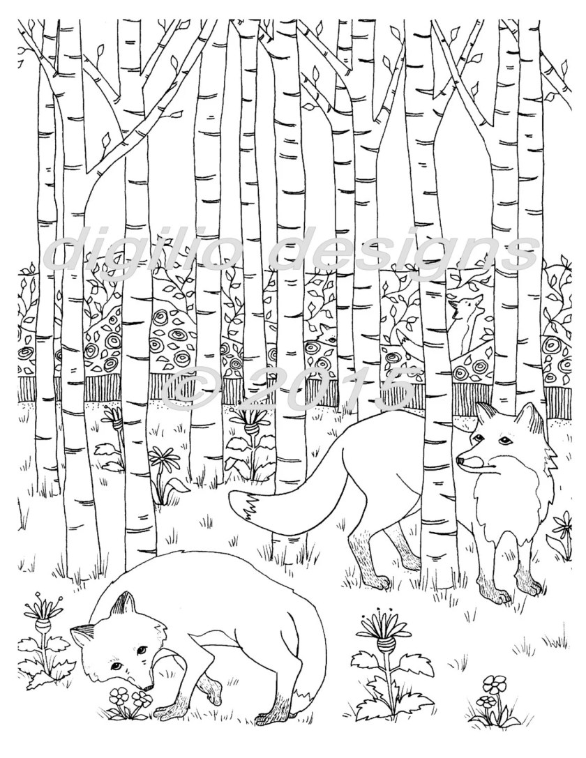 adult coloring page foxes in the forest fox woodland