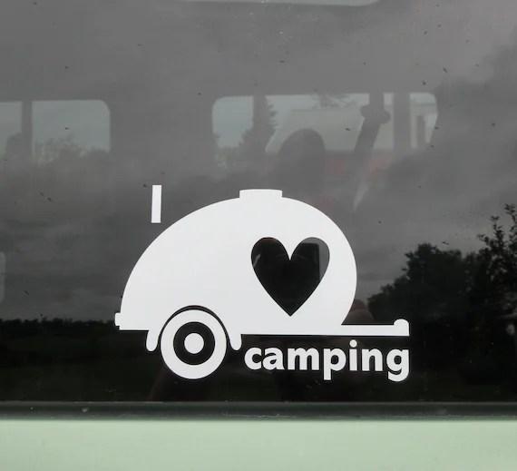 Download I love camping teardrop car window decal. Travel trailer.