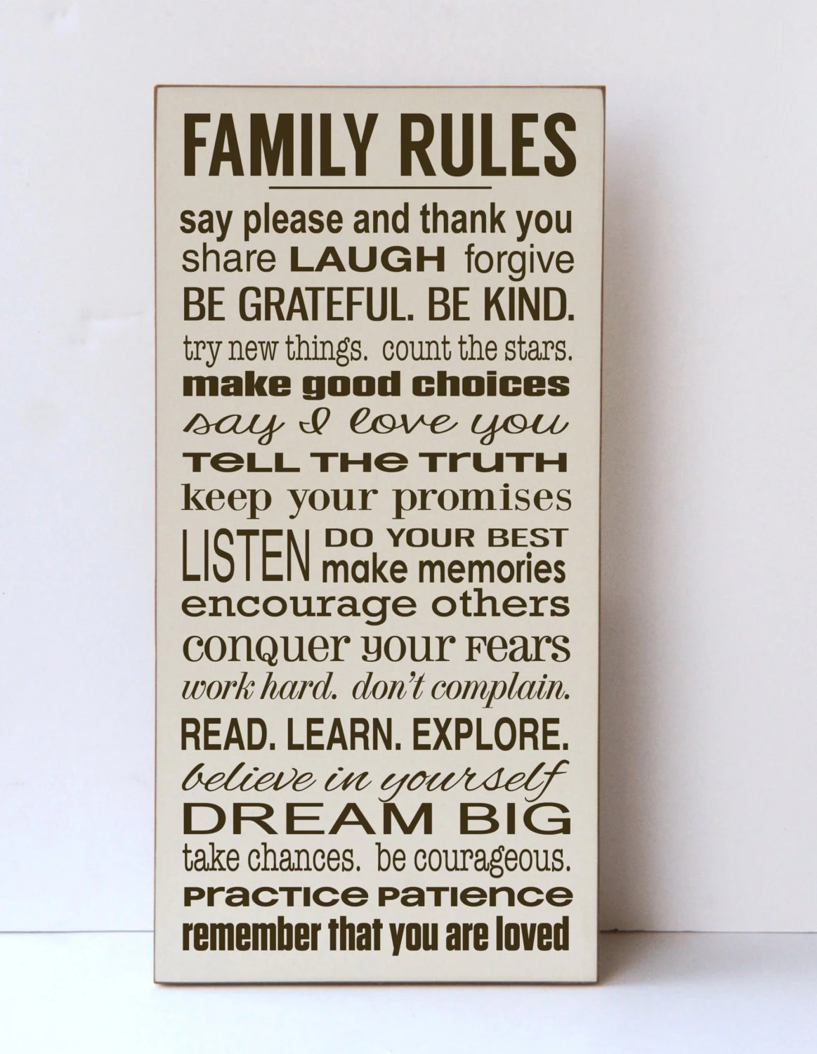 Family Rules Sign Rules Of The Family Our Family Rules
