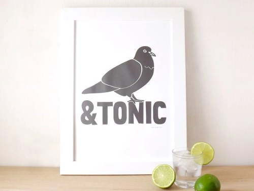 Pigeon and Tonic Screenprint, Gin Poster, Gin and Tonic Kitchen Art, Alcohol Print, Funny Screen Print Poster, Pigeon Print, hello DODO