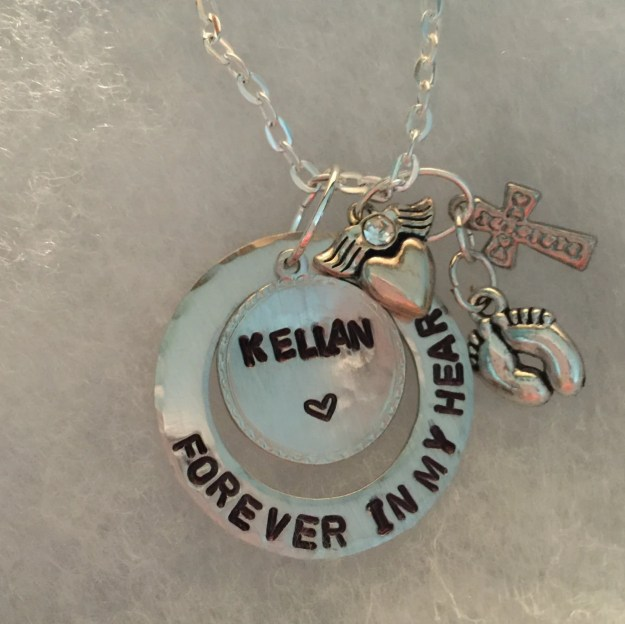 Personalized, hand stamped mothers necklace.