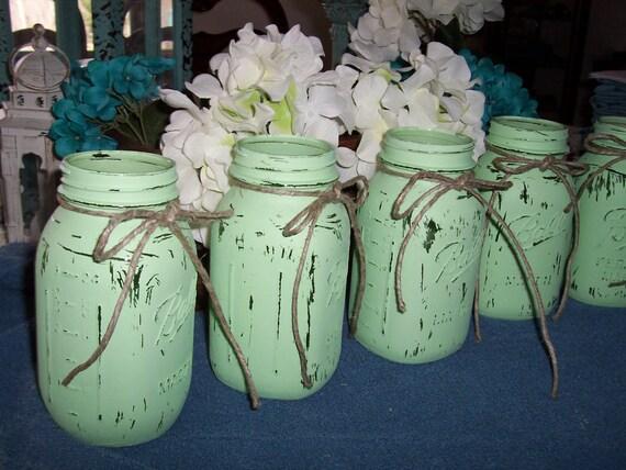 Items Similar To Mason Jar Vases Painted Mint Green