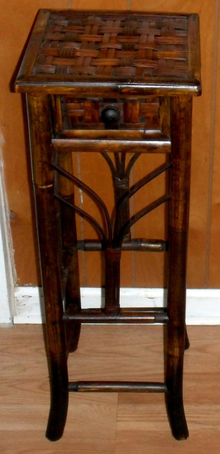Items Similar To Vintage Asian Bamboo Side Table With