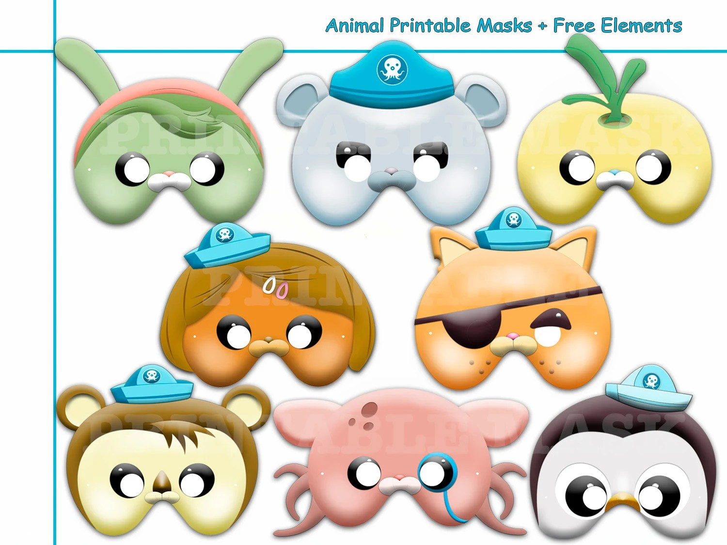 Unique Animal Printable Masks Birthday Hero Sea Kids