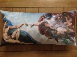 "the creation of adam - sistine chapel - 12"" x 24"" velveteen pillow case - michelangelo,1512"