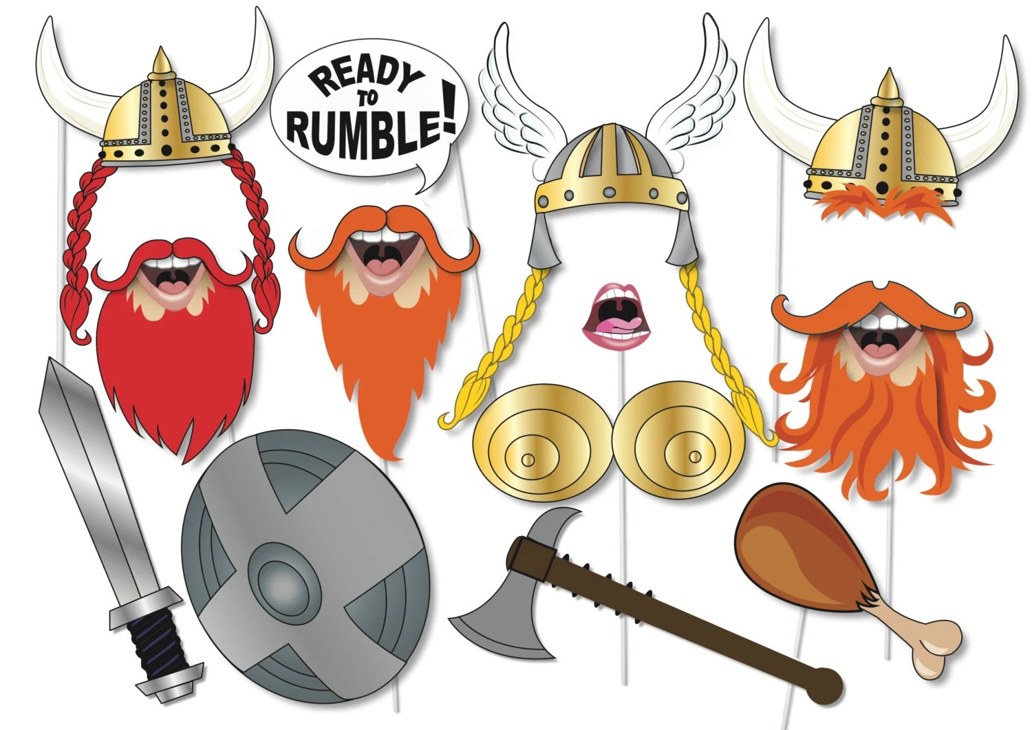 Viking Photo Booth Props Party Set 12 Piece Printable Fun