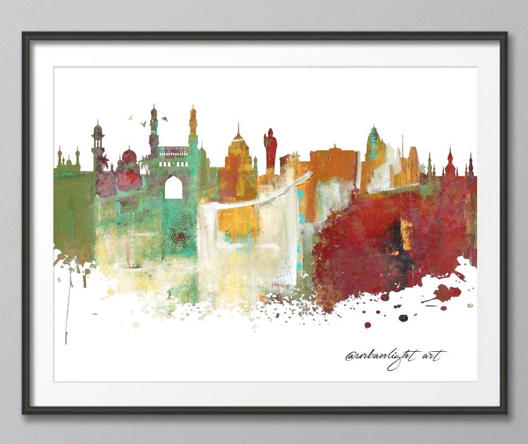 Hyderabad Hyderabad Skyline India Architecture Print