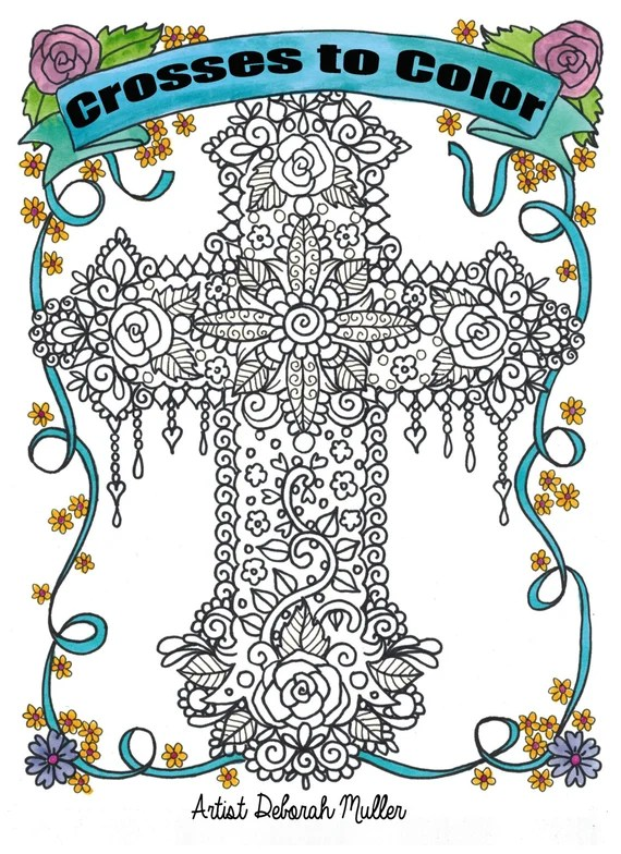 coloring book crosses christian art to color and create