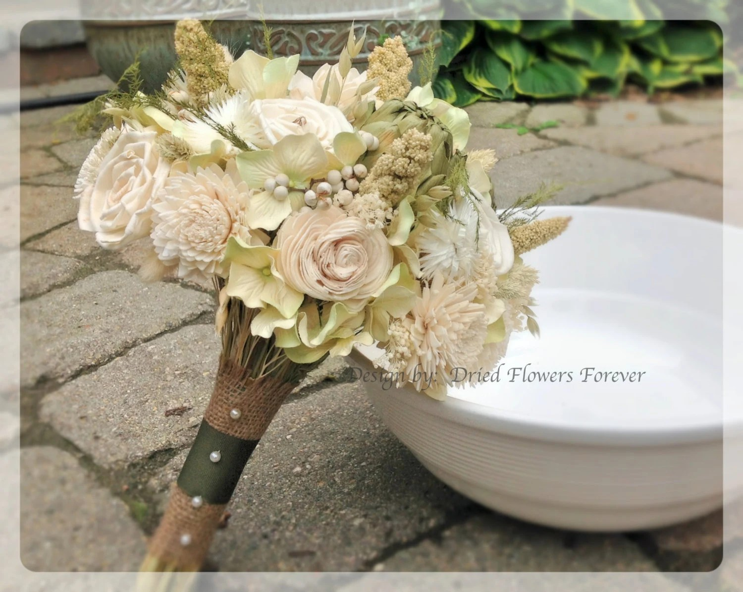 Woodland Moss Collection Bridal Bouquet Natural Dried And