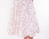 Circle Skirt Printed in Original Floral Pattern // Midi // Made from Italian Cotton // Limited Edition // Color: Red