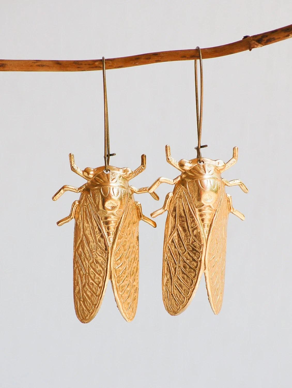 Big Gold Beetle Earrings Nature Study Victorian Cicada