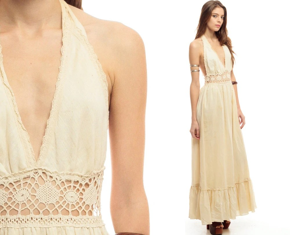 GUNNE SAX 70s Maxi Dress CROCHET Lace Bohemian Wedding Halter