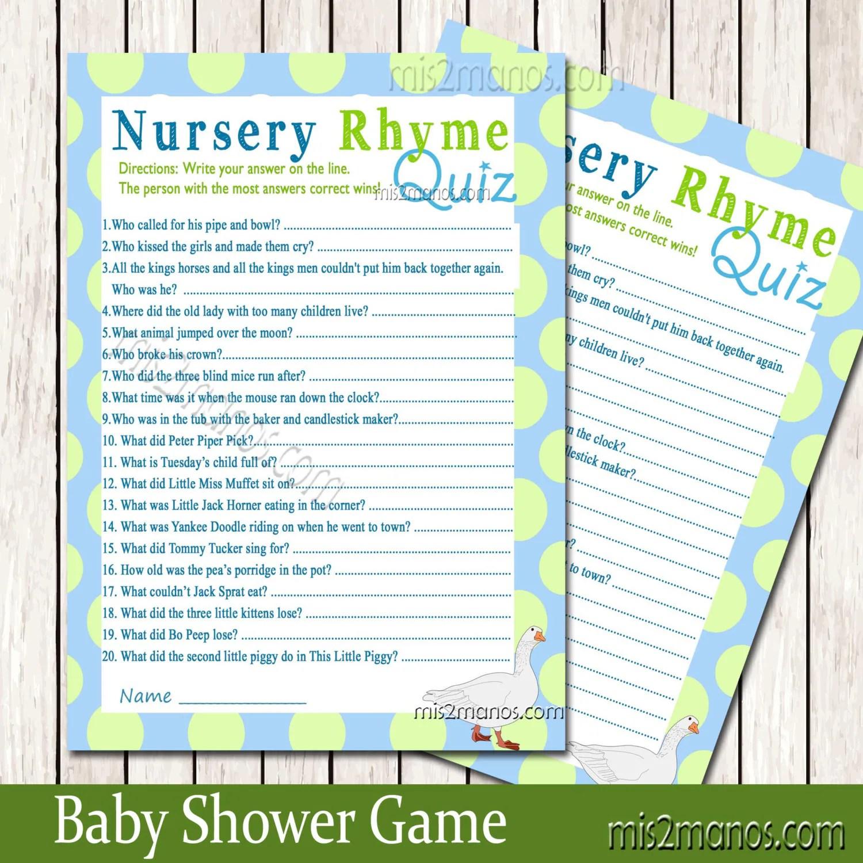 Nursery Rhyme Quiz Game Baby Shower Printable Baby Blue Game